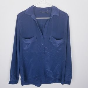 Massimo Dutti 100% Silk Popover Blouse Long Sleeve